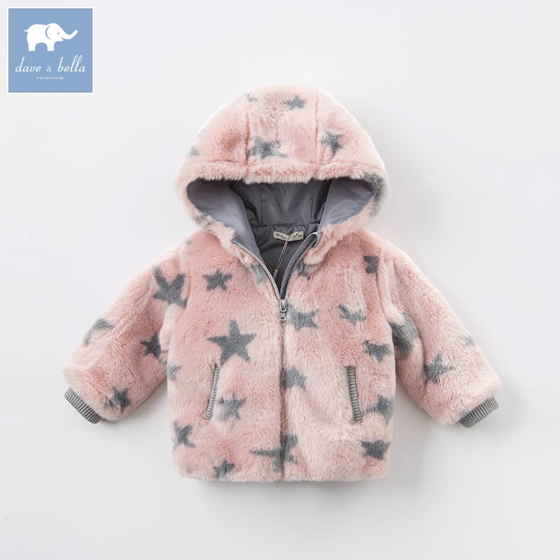 DB5957 dave bellaau winter infant baby girls fashion Jackets toddler Hooded outerwear children cute hight quality clothes