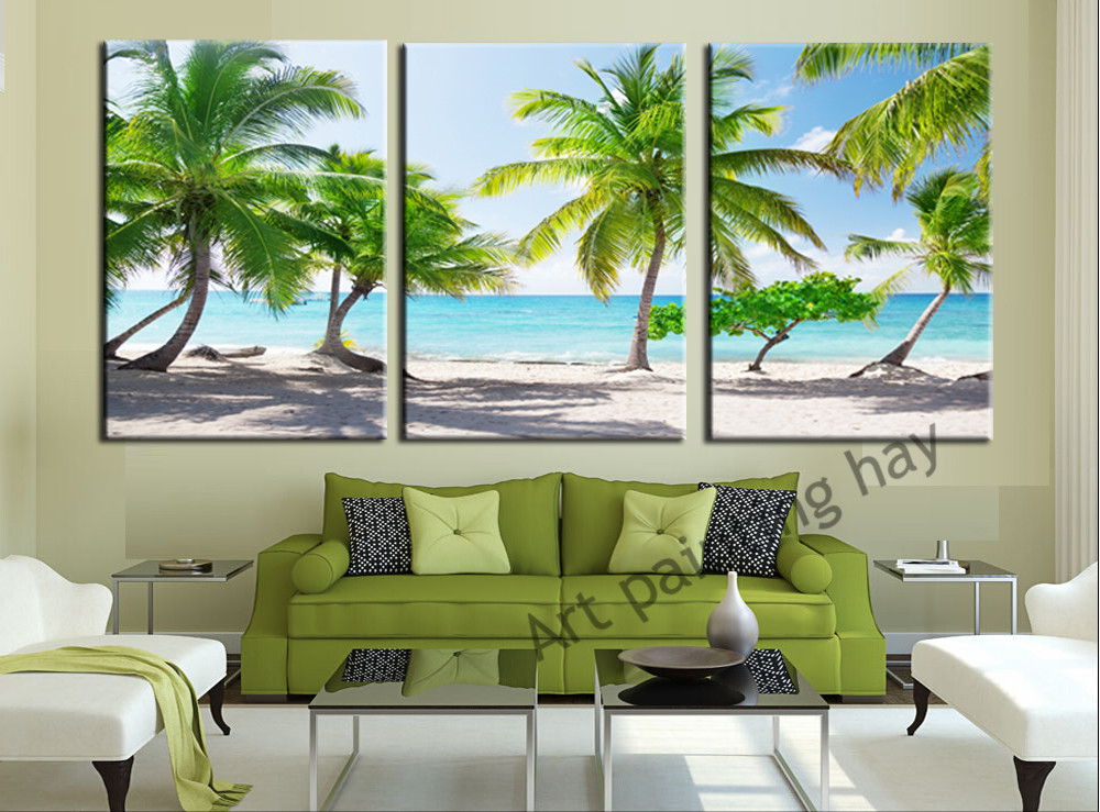 Modern Wall Art Home Decoration Printed Oil Painting Pictures No Frame Canvas Prints 3 Piece Coconut Palm Beach Scenery