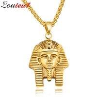 LOULEUR 2017 Châu Âu Bán Chạy Ai Cập Pharaoh Vòng Cổ Cho Nam Giới Vintage Cổ Điển Vàng Màu Thép Không Gỉ Hip Hop Dây Chuyền