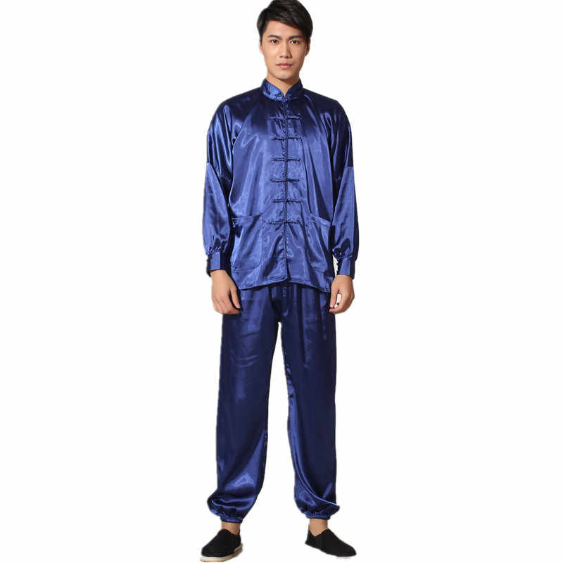 New Chinese Traditional Men's Satin Rayon Kung Fu Suit Vintage Long Sleeve Tai Chi Wushu Uniform Clothing M L XL XXL 3XL L070627