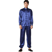 New Chinese Traditional Men s Satin Rayon Kung Fu Suit Vintage Long Sleeve Tai Chi Wushu