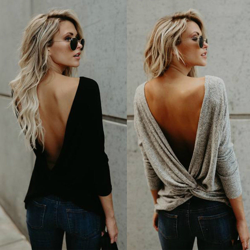 CANIS Neue Mode Frauen Damen Lange Sleeve Twisted Open Back Lose Tops Casual T-Shirt Baumwolle Mischung Kleidung