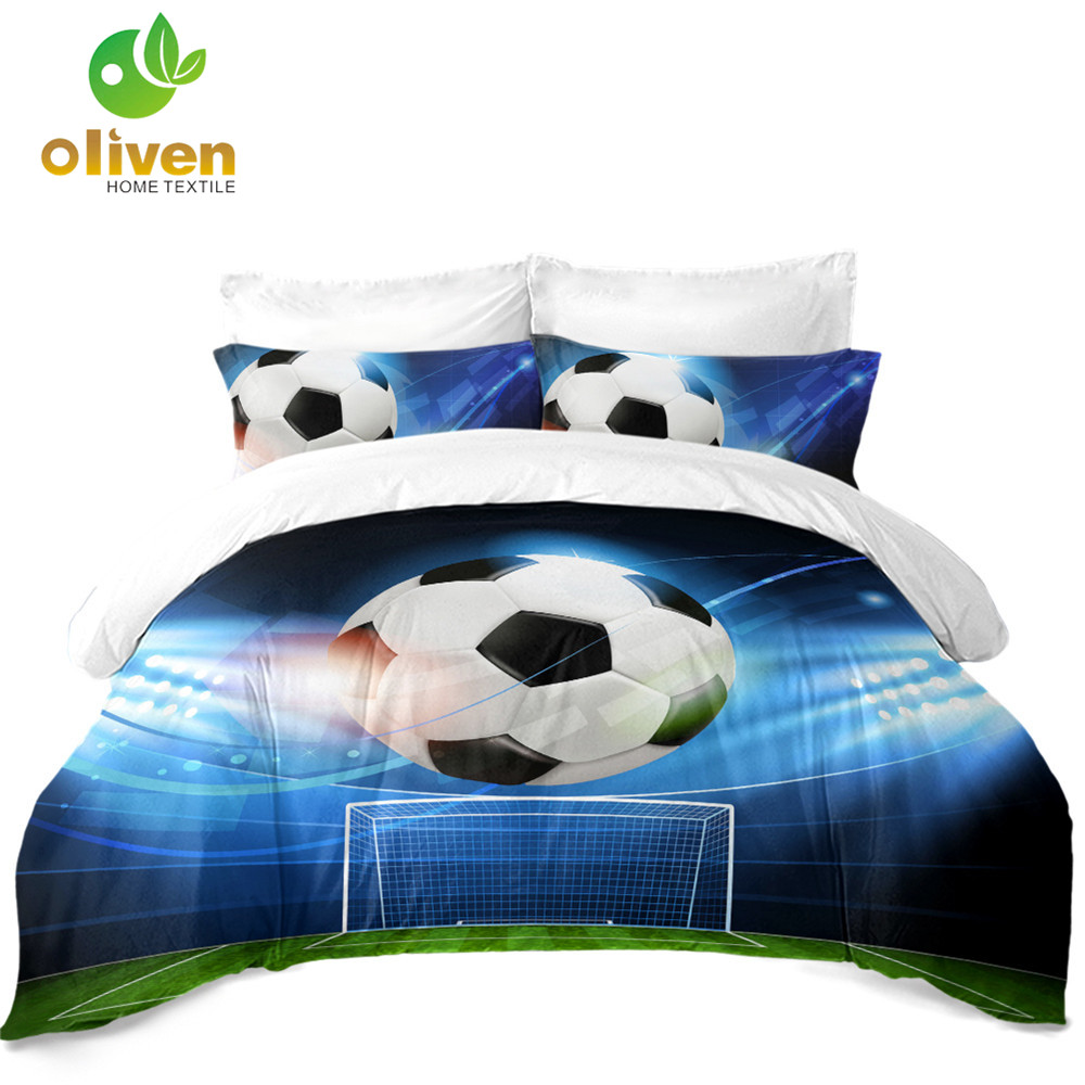 3Pcs 3D Football Bedding Set Sports Stadium Print Duvet Cover Set Soccer Fans Gifts Bedroom Decor Soft Bedclothes Pillowcase D25|Bedding Sets| |  - title=