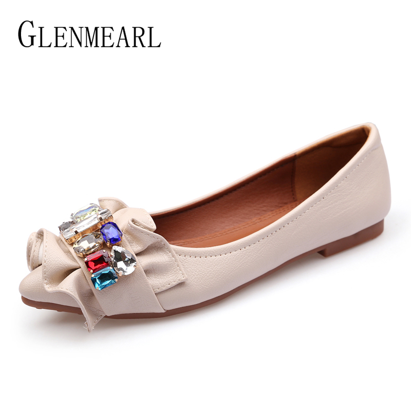 Brand Women Shoes Slip On Rhinestone Single Ballet Flats Casual Shoes Woman Summer Pointed Toe Soft Female Flats Plus Size DE odetina 2017 new women pointed metal toe loafers women ballerina flats black ladies slip on flats plus size spring casual shoes