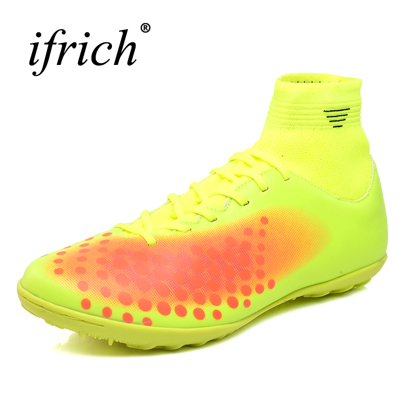 2017 New Cool Football Soccer Cleats Lace Up Football Shoes Tf Ankle High Cleats Boots Black Blue Soccer Sock Shoes Trainers