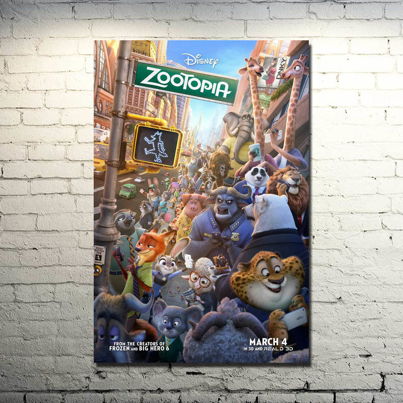 Zootopia Silk Poster 13x20 24x36inch Judy Hopps Nick Wilde Cartoon Movie Pictures For Living Room Decor