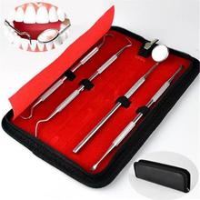 4pcs/set Dental Mirror Stainless Steel Dental Dentist Prepared Tool Set Probe Tooth Care Kit Instrument Tweezer Sickle Scaler medical tooth instrument material multifunction plier dental forcep set adult children mouth care animal tooth remove extraction