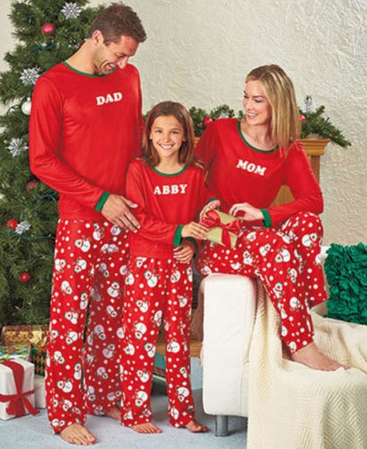 new year family christmas pajamas women man kids family match clothes sleepwear nightwear costume red cotton - Christmas Pajamas Women