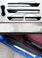 Car Stainless and plastic Blue LED Door Sill Scuff Plate Cover For Honda CIVIC MK10 2016 2017 2018 Accessories