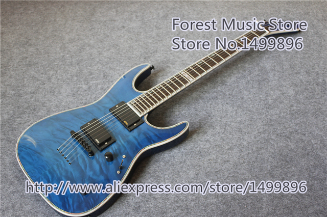 Cheap China Custom Shop Blue Quilted Finish ESP MH-1000 LTD Deluxe Electric Guitar As Pictures For Sale