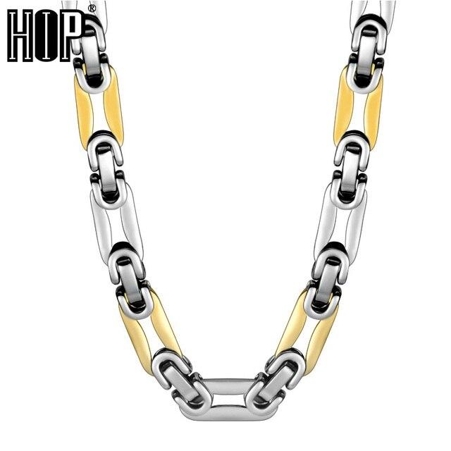 Хип хоп два тона золото Цвет Титан Нержавеющая сталь длинные тяжелый ссылка византийский цепи для мужчин ювелирные изделия