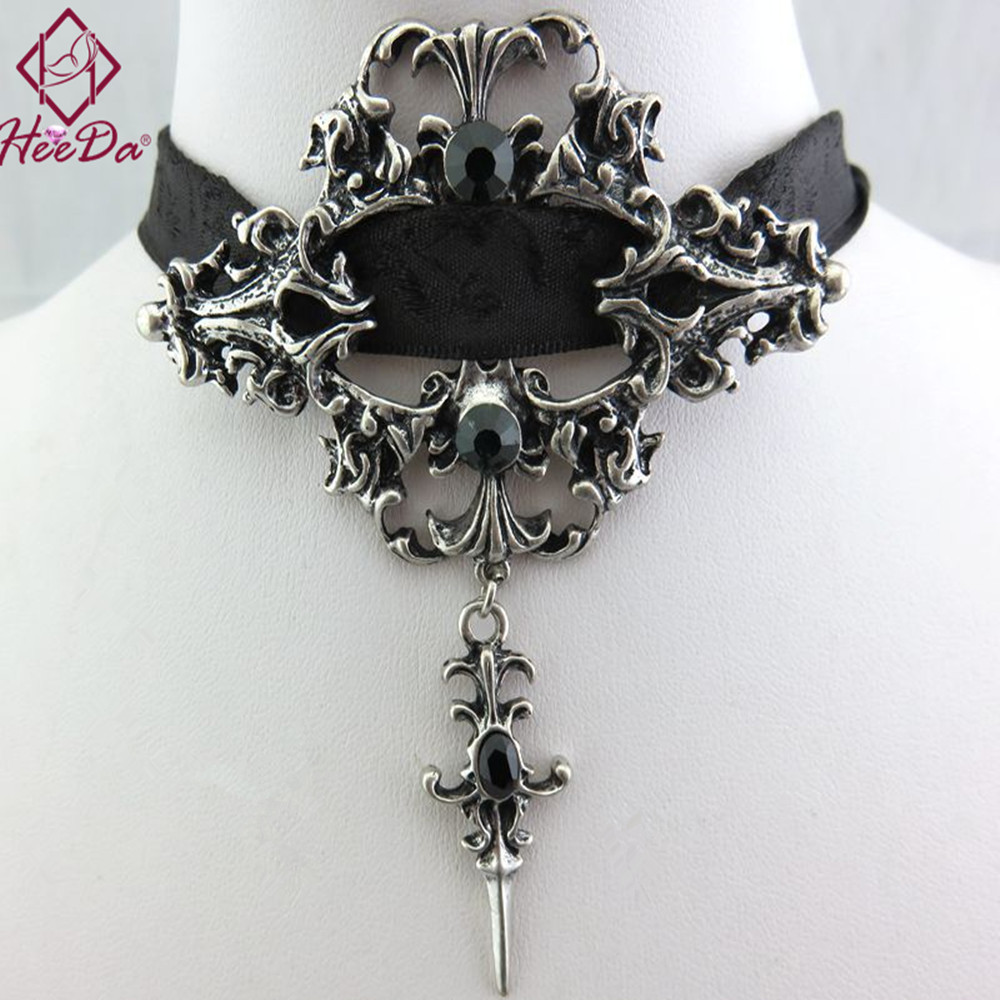 Unique Gothic Punk Sexy Black Lace Pendant Necklace Fashion Trend Women Choker Graceful Joker Halloween Jewelry Accessories 2018 gothic style black lace faux ruby teardrop choker necklace for women