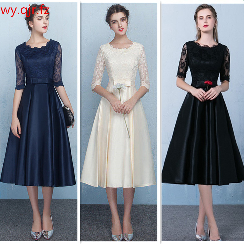 J5H4#Navy Blue Champagne Red Medium Length Style Evening Dresses Party Prom Dress Gown Prom Wholesale Customize Women Clothing