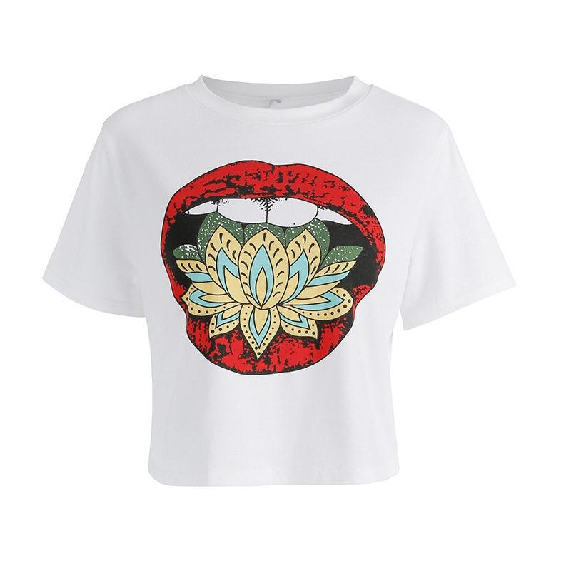 NiceMix Summer Harajuku Crop Top T Shirt Women Print Red Lips Female Short Sleeve 2019 New T shirt Casual Cropped Tee Shirt in T Shirts from Women 39 s Clothing