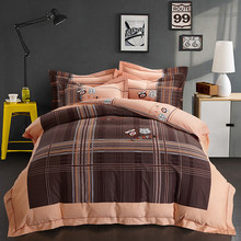 2018 Route 66 Plaid Brown Bedding Sets Winter Thick Bed Cover Sanding Cotton Queen King Size Duvet Cover Set Pillowcases(China)