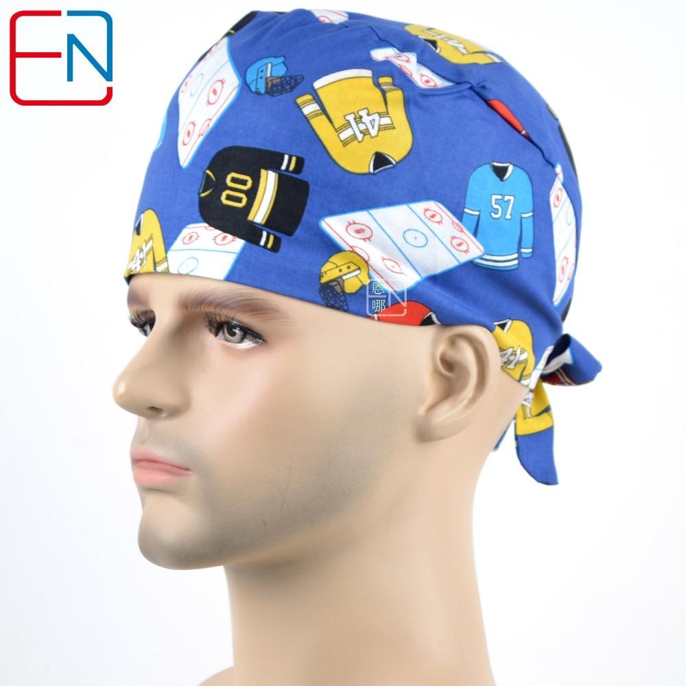Hennar Mens Scrub Caps Great Quality Surgical Medical Caps With Sweatband ElasticTie Back For Hospital Doctor Dentist Scrub Caps
