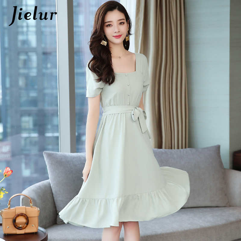 Jielur платье с высокой талией женское платье с квадратным воротником с коротким рукавом шифоновое платье с поясом однотонные плиссированные трапециевидные платья