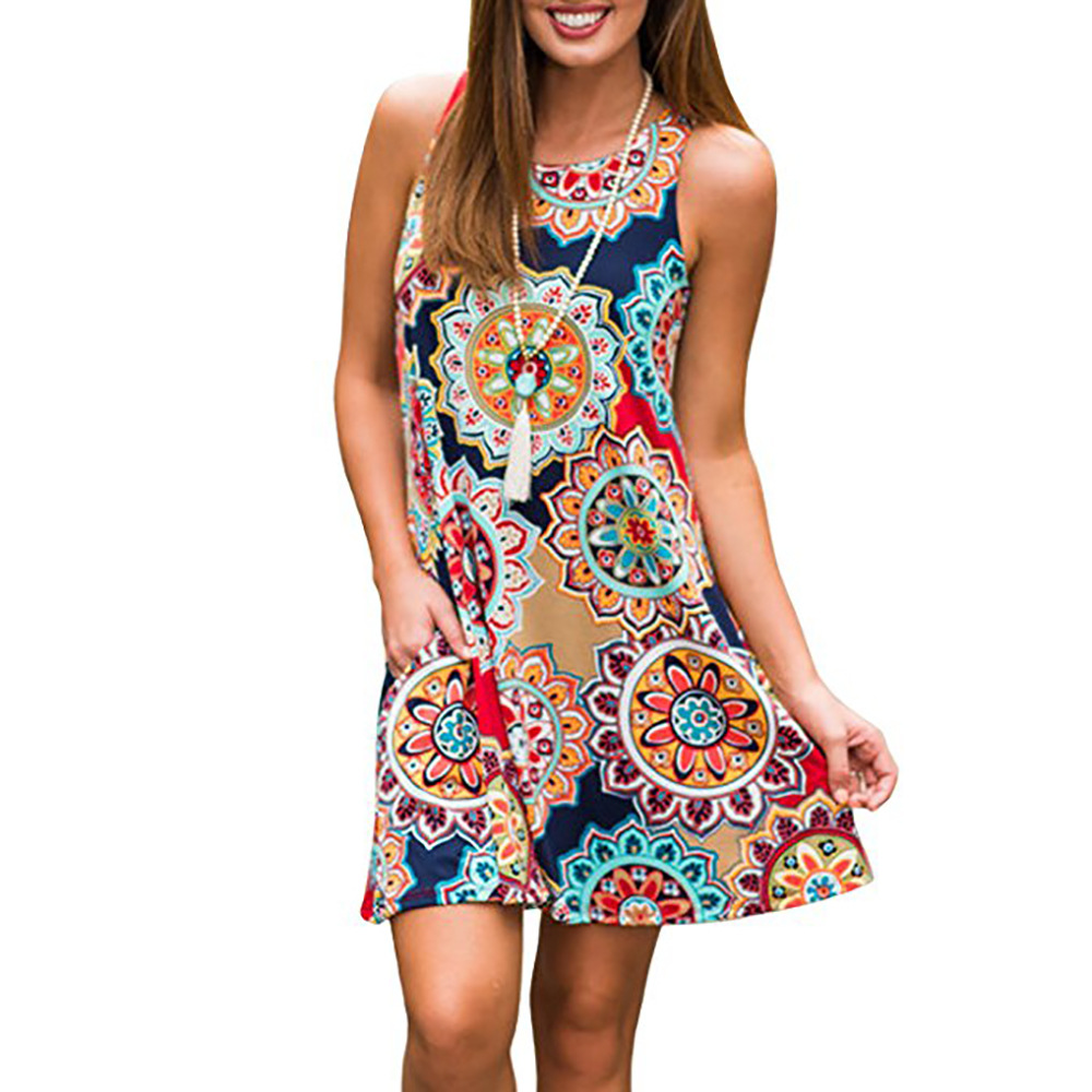 Women Print sleeveless pullover dress dresses clothing 2019 indie Folk fashion Dress above knee mini loose fit colorful dresses