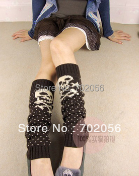 Autumn winter skull Knitted Leg Warmers Boot Covers 24 pairs/lot mixed colors #3425