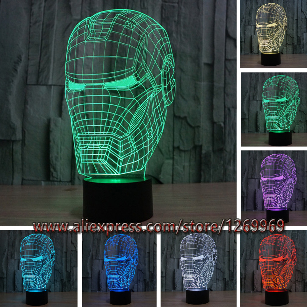 New Marvel Avengers Lamp 3D Art Iron Man Mask Night Light Superhero illusion Mood Lampe for Kids Friends Dad Creative Toy Gift