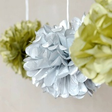 6 pcs 15 cm Party Decorations Metallic Gold/Silver Tissue Paper Pom Poms FlowerHanging Decor Showers Birthday Wedding