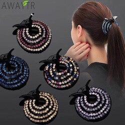 New Crystal Bird Nest Ponytail Holder Fair Crab Claw Clip Hairpin Rhinestone for Women Girls Accessories Barrettes Headwear