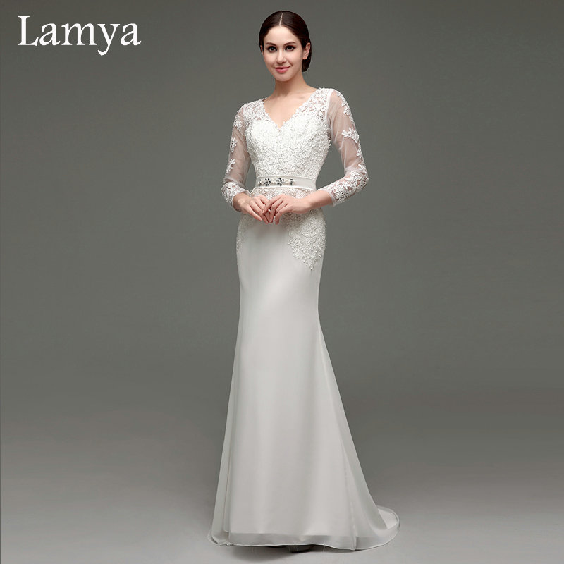Pure white a line backless elegant modest chiffon wedding for Long sleeve white lace wedding dress