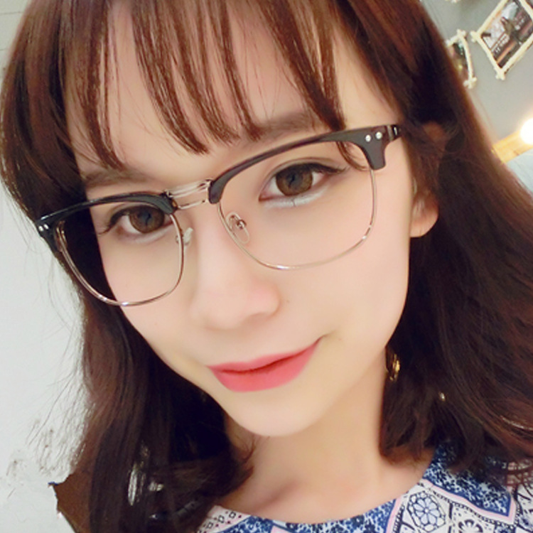 new hipster brand designer metal half frame glasses rivet vintage eyeglasses women nerd computer glasses men