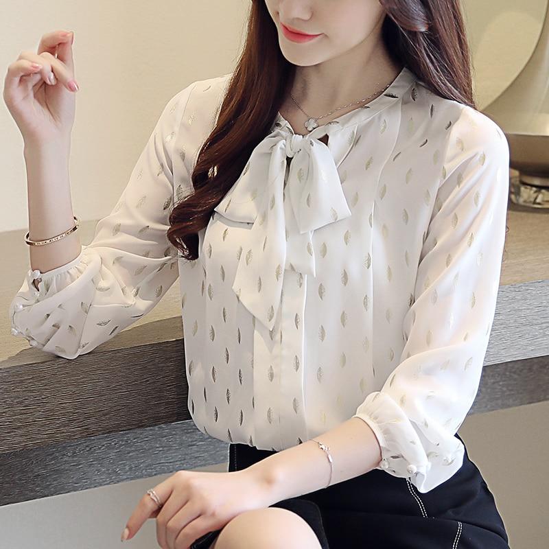 3607a0cde14 2019 Весна Новая женская блузка Корейская бронзовая с длинными рукавами  шифоновая рубашка Универсальная Мода галстук-
