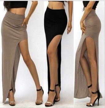 New Brand Designer summer Hot Sale 2016 Novelty  Sexy Women Skirt Lady Open Side Split Skirt High Waist Long Maxi Skirt 3