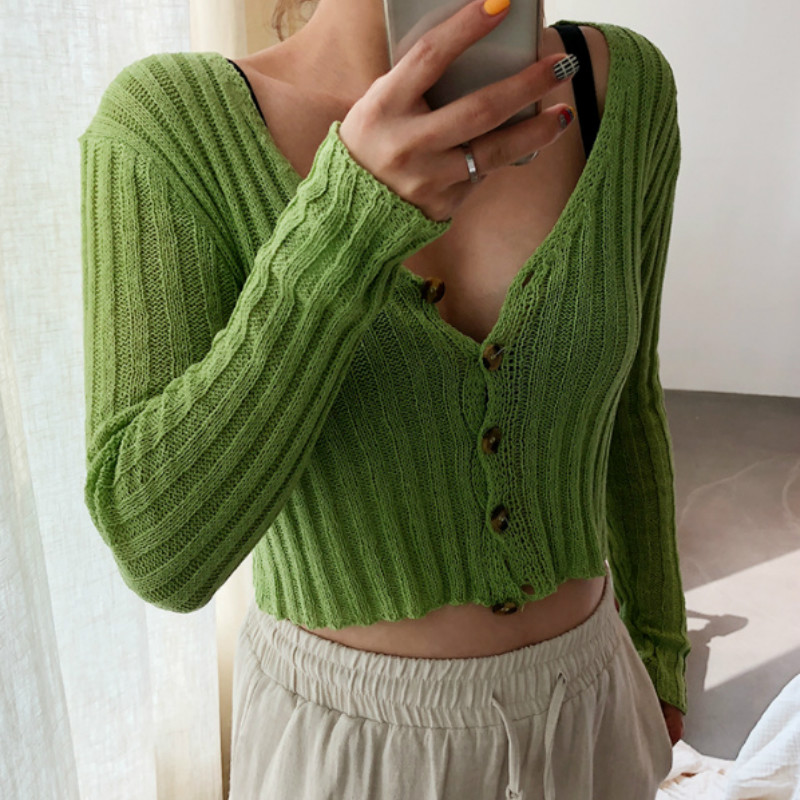 Spring V-Neck Sweaters Coat Knitted Striped Cardigan Women OL Thin High Waist Single-breasted Long Sleeved Autumn Thin Tops