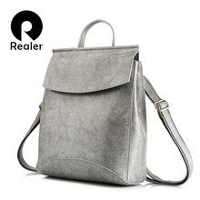 REALER женский рюкзак разделенная кожаная дорожная сумка Школьный рюкзак для девочек подростков сумка на плечо Женский Большой рюкзак
