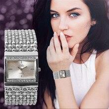 Traditional time display, women watch Women's Stainless Steel Quartz Watch Rhinestone Crystal Analog Wrist Watch P*21