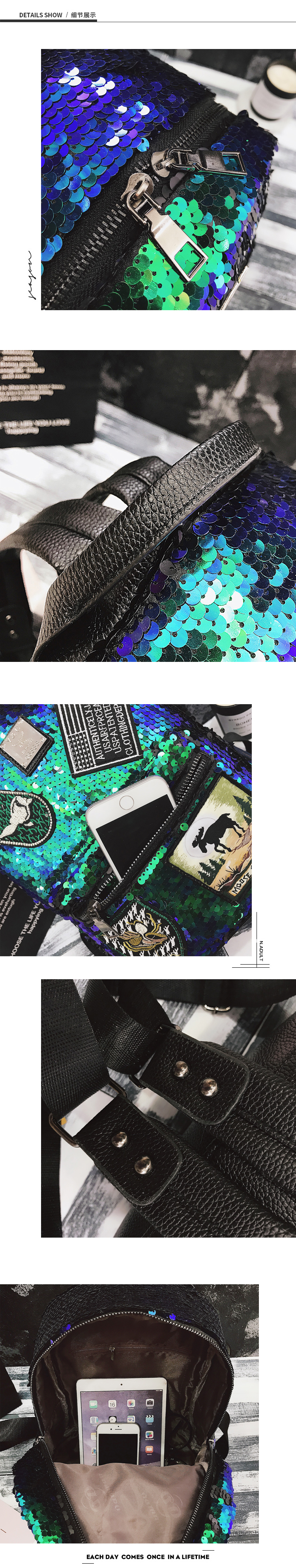 Sequin Backpack Korean version 2018 New Personality Badge Fashion Backpack Wild Casual 22