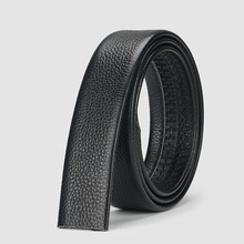 Фотография No Buckle 3.5cm Wide Real Genuine Leather Belt Without Automatic Buckle Strap Designer Belts Men High Quality //3.5*110cm