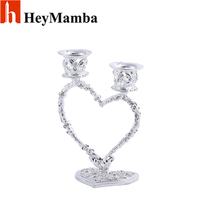 Exquisite Silver Plated Heart Candle Holder Christianity Metal Candelabra Candle Stands For Wedding Decoration Party Favors