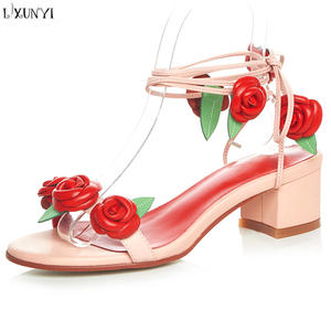 a25f5a982cd LXUNYI Genuine Leather Sandals 2018 Summer Shoes Women s
