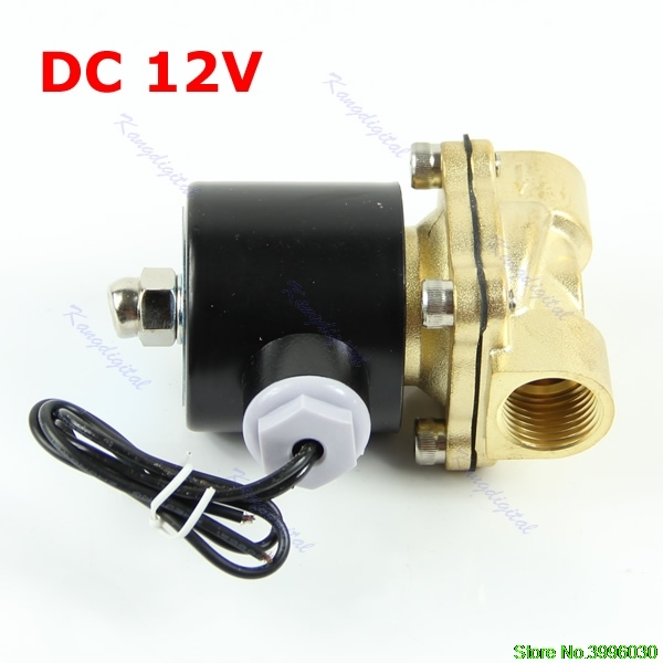 Brass 12V DC 1/2 Electric Solenoid Valve Water Air Fuels Gas Normal Closed New 2w 200 20 3 4 inch brass electric solenoid valve water air fuels n c dc 12v