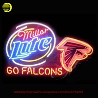 Atlanta Falcons Miller Lite SINAL de NÉON Neon Lâmpada Artesanais Recreação Tubo De Vidro do quarto do Sinal de Néon de Cerveja Iluminado Levou 360 31x24