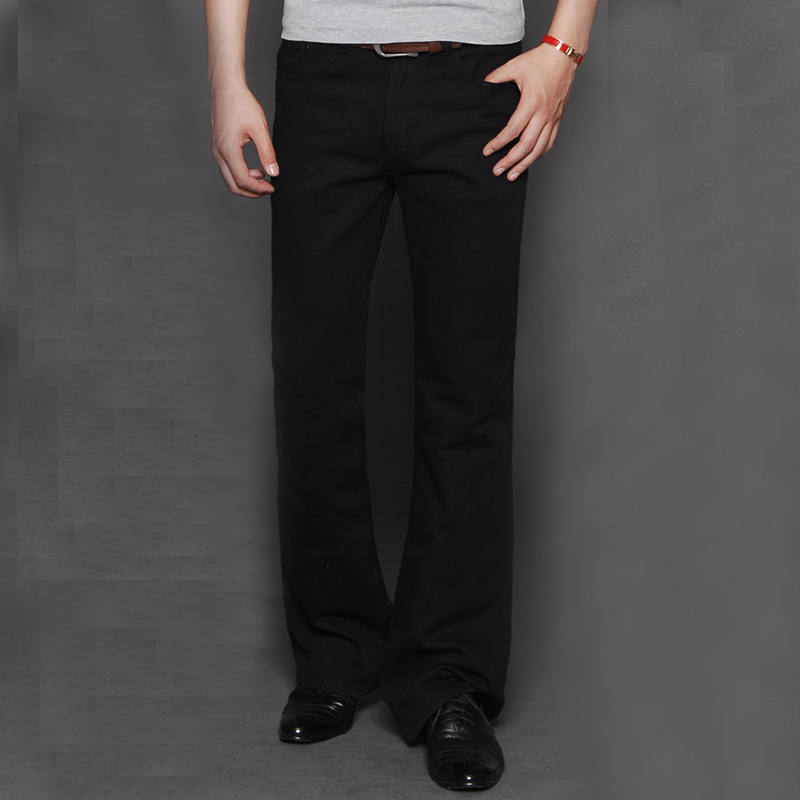 Mens Large Size 28-38 Jean Homme Regular Boot Cut Fit Jeans Male Hige Waist Business Lon ...
