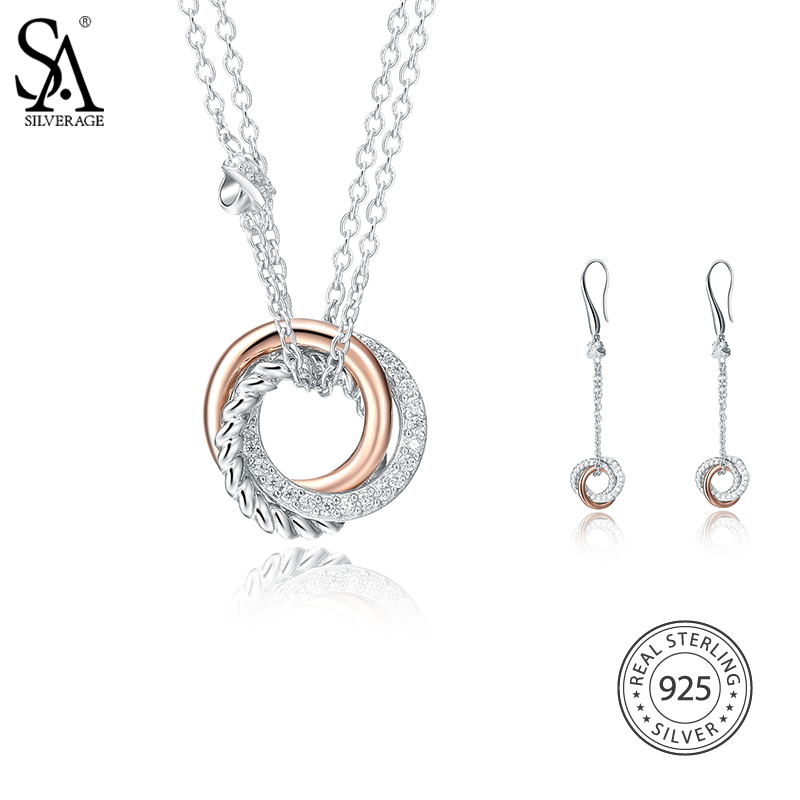 SA SILVERAGE 925 Sterling Silver Jewelry Sets AAA Zirconia Necklaces Pendants Drop Dangle Earrings for Women