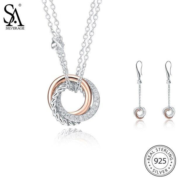 Ensembles de bijoux en argent Sterling SA SILVERAGE 925 colliers AAA zircone pendentifs boucles d'oreilles pendantes pour femmes bijoux fins