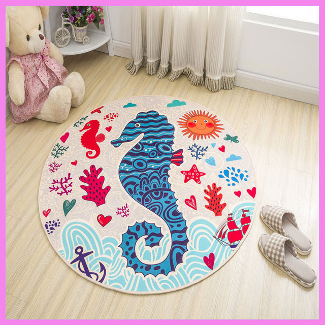 Christmas Series Decro Cartoon Round Carpet Waterproof Home Doormat Kitchen  Mat Hall Rug Baby Gym Activity