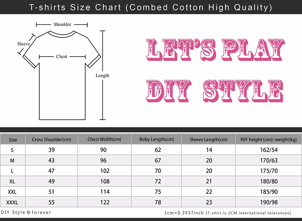 enjoy t-shirts size table