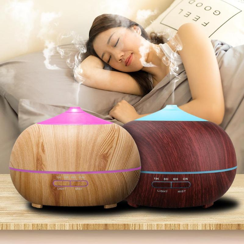 400ml Essential Oil Diffuser Ultrasonic Humidifier Timer Aroma Aromatherapy Diffuser Mist Maker Wood Grain Air Humidifier usb ultrasonic humidifier 290ml aroma diffuser essential oil diffuser aromatherapy mist maker with 1 color led light wood grain