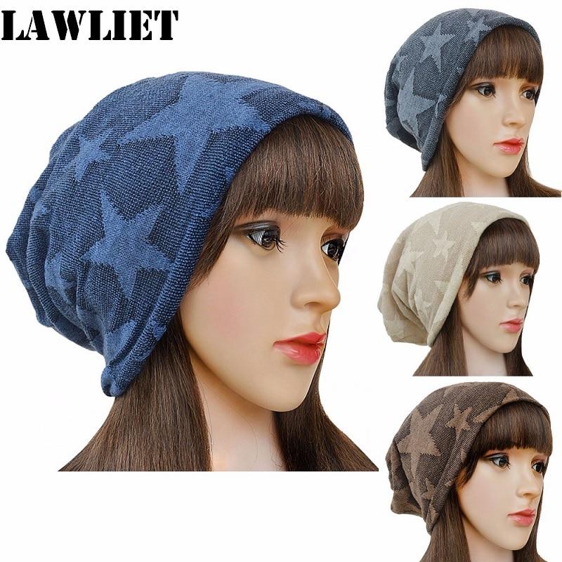 A240 New Hollow Winter Women Baggy Beanie Hat Cap Skull Star Pattern Fashion Sports Skullies