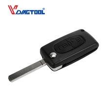 Vdiagtool-llave de coche plegable con control remoto, llave sin grabar, 2 botones, para CITROEN C2, C3, C4, C5, C6, C8, sin ranura, CE0526
