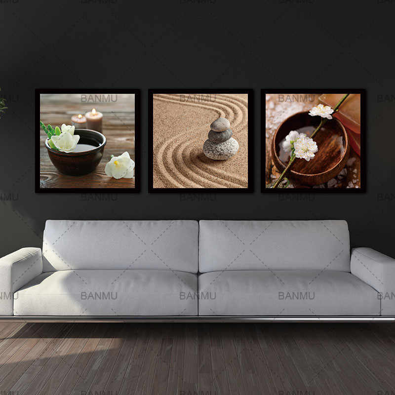 Wall Art Painting canvas painting decoration Modern Flower in Bowl with Water and Candle Canvas Zen Stone Relaxation Calm Scene