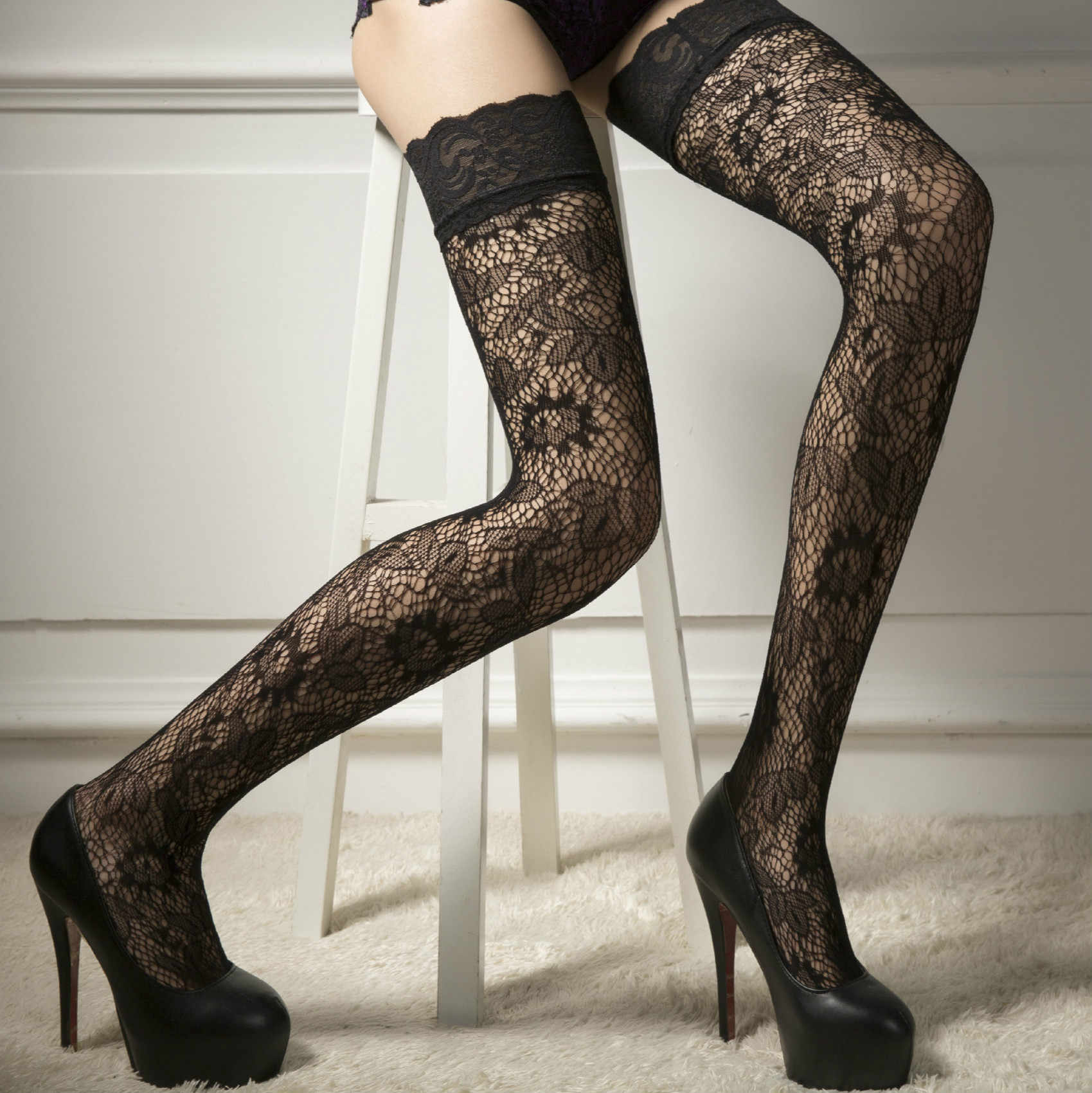 f0083aa6fe4 Sexy Lady Women Sheer Lace Stockings Thigh-High Hold-ups Stocking Leggings  Pantyhose 2019