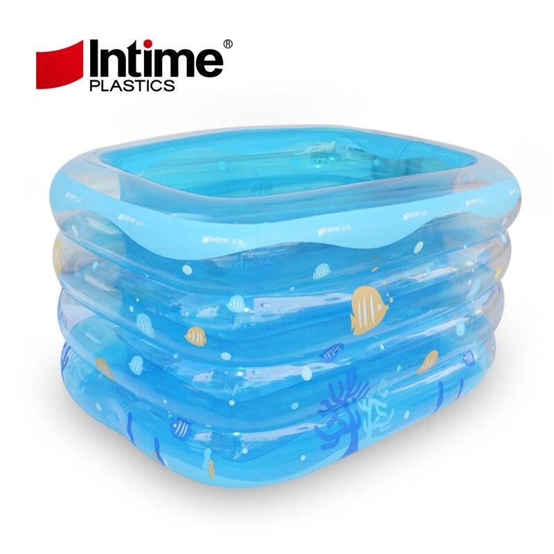 Piscine gonflable rectangle transparent gonflable bébé natation pliante baignoire Portable 143x105x75 cm bleu blanc poisson imprimé